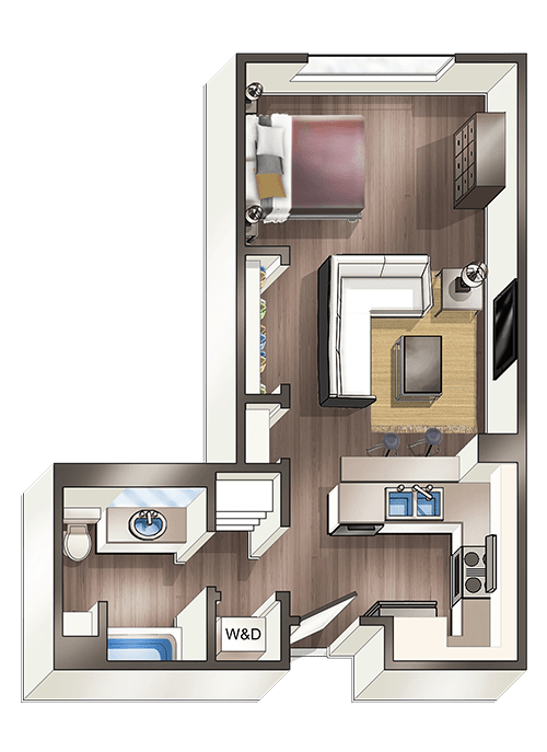 Studio 1 Bathroom Apartment for rent at Vive On The Park in San Diego, CA