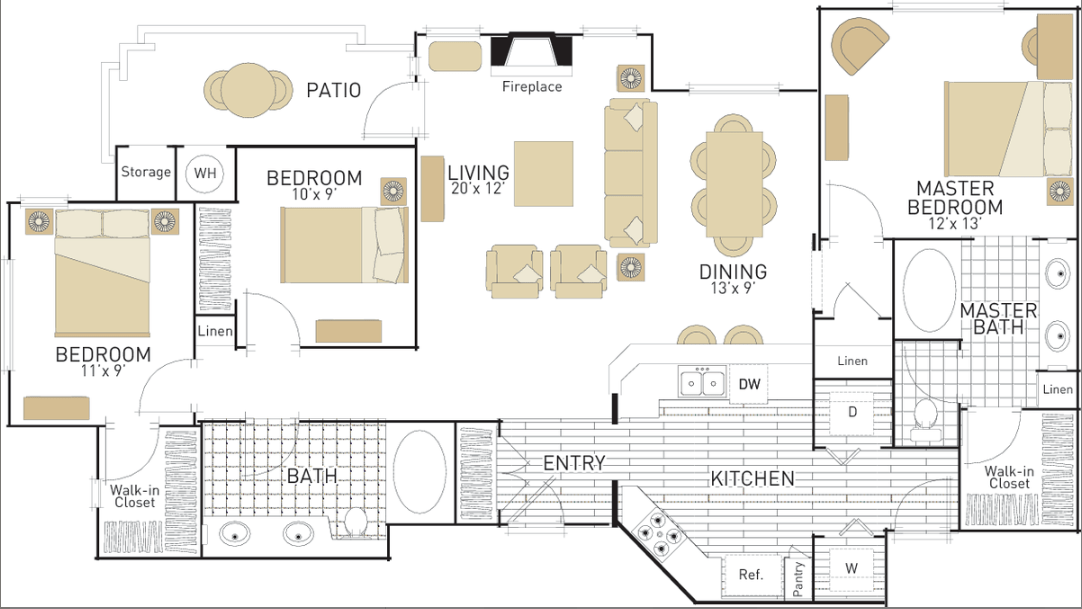 3 Bedrooms 2 Bathrooms Apartment for rent at Torrey Villas in San Diego, CA