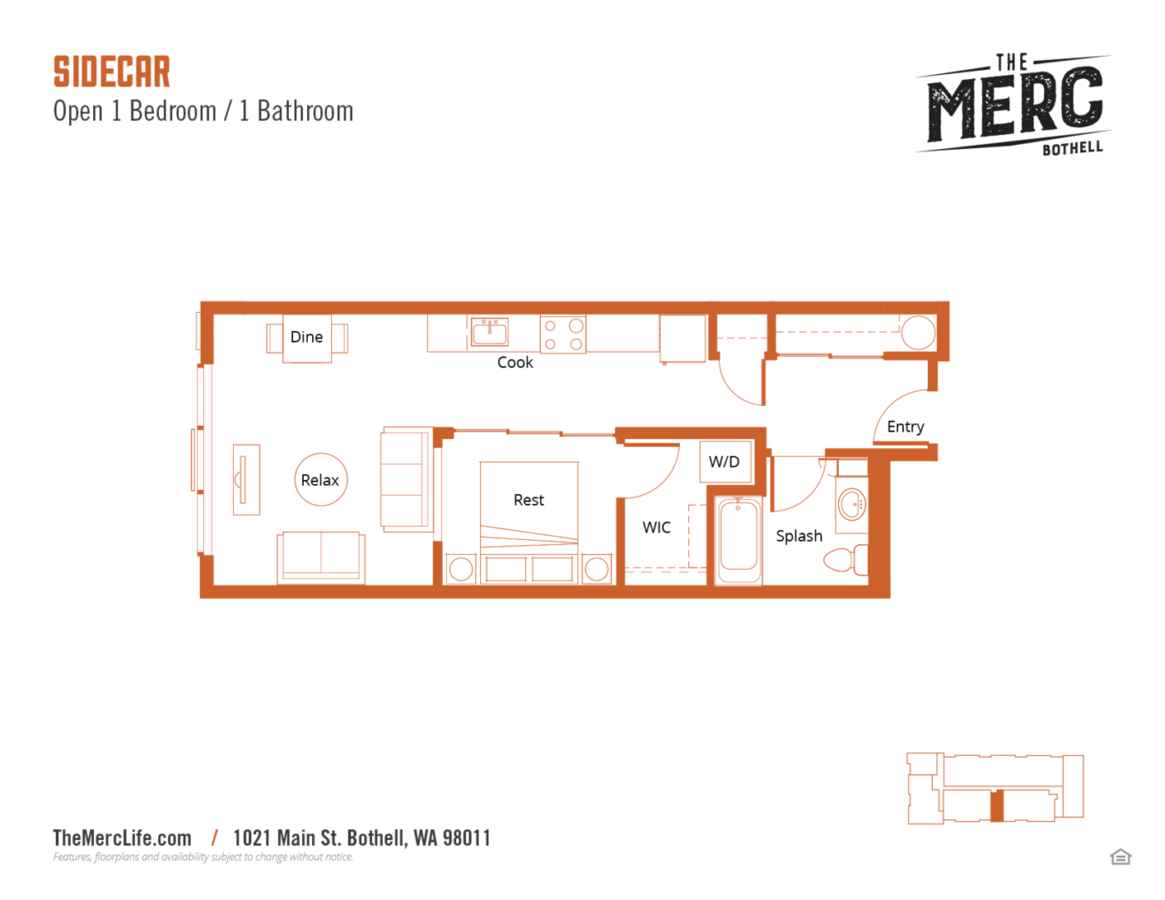 1 Bedroom 1 Bathroom Apartment for rent at The Merc in Bothell, WA