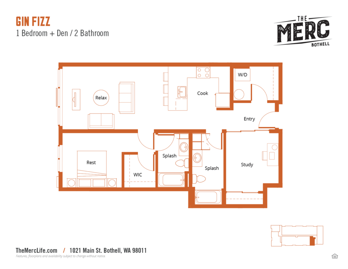 1 Bedroom 2 Bathrooms Apartment for rent at The Merc in Bothell, WA
