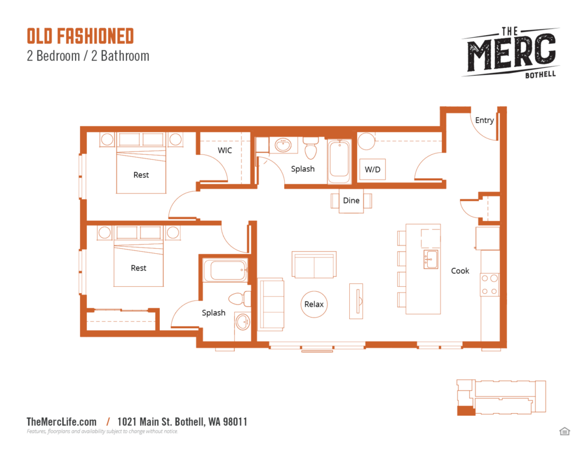 2 Bedrooms 2 Bathrooms Apartment for rent at The Merc in Bothell, WA