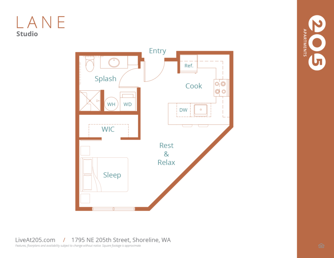 Studio 1 Bathroom Apartment for rent at Live At 205 in Shoreline, WA