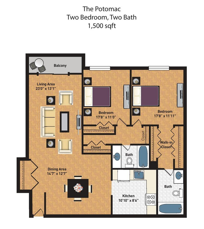 2 Bedrooms 2 Bathrooms Apartment for rent at North Park Apartments in Chevy Chase, MD