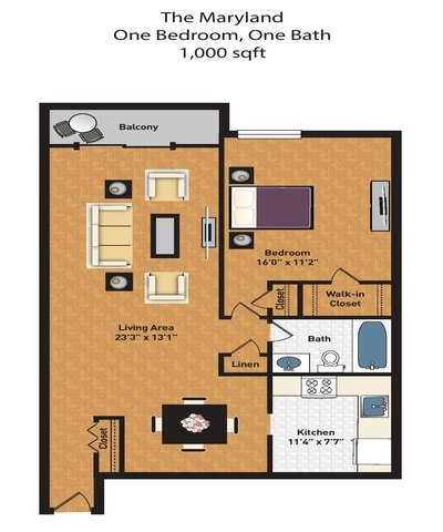 1 Bedroom 1 Bathroom Apartment for rent at North Park Apartments in Chevy Chase, MD