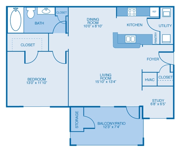 1 Bedroom 1 Bathroom Apartment for rent at Lakeside At Town Center in Marietta, GA
