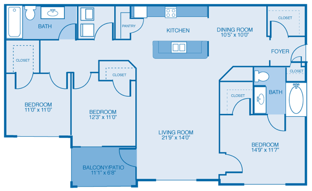 3 Bedrooms 2 Bathrooms Apartment for rent at Lakeside At Town Center in Marietta, GA