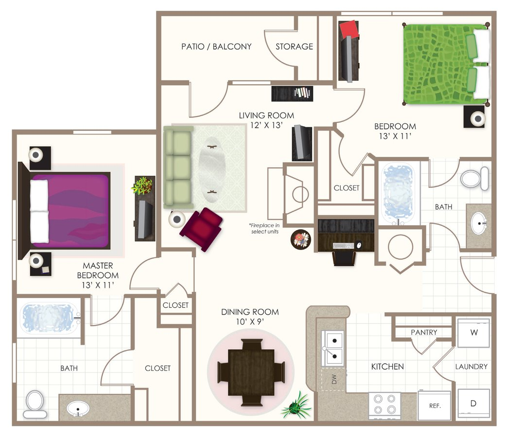 2 Bedrooms 2 Bathrooms Apartment for rent at Summerwood On Towne Line in Indianapolis, IN