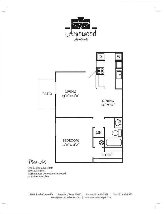 1 Bedroom 1 Bathroom Apartment for rent at Arrowood Apartments in Houston, TX
