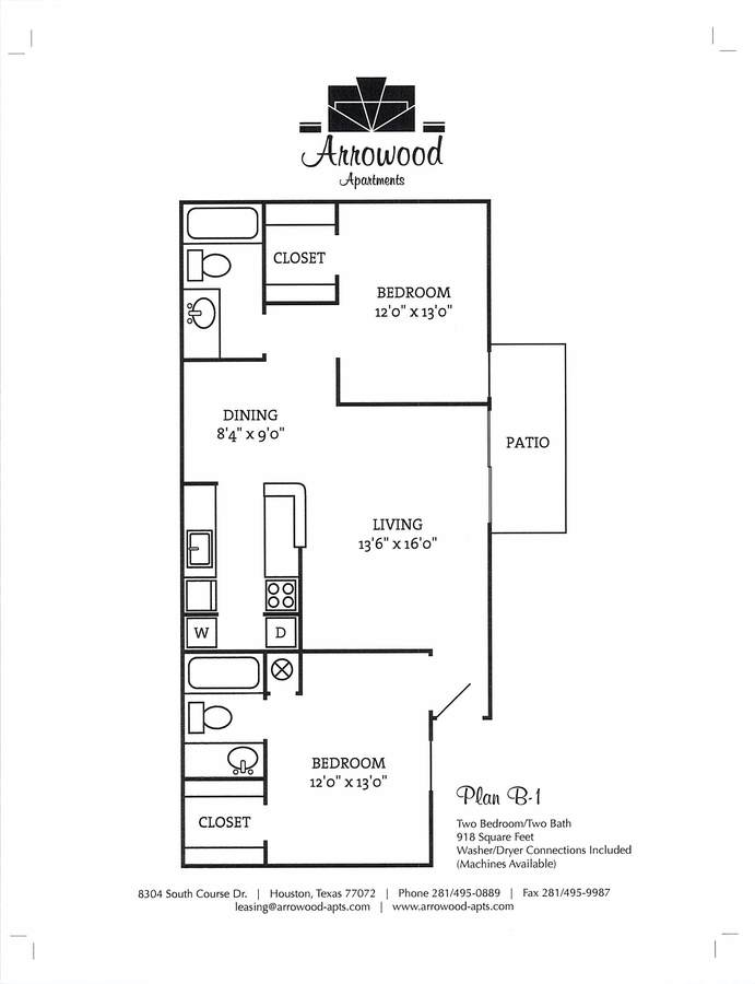 2 Bedrooms 2 Bathrooms Apartment for rent at Arrowood Apartments in Houston, TX