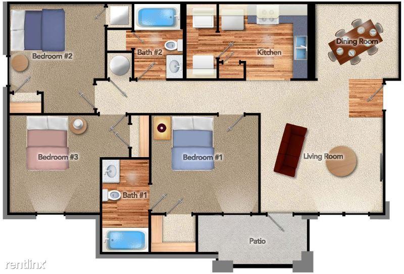 3 Bedrooms 2 Bathrooms Apartment for rent at Hampshire Landing Ii in Joplin, MO