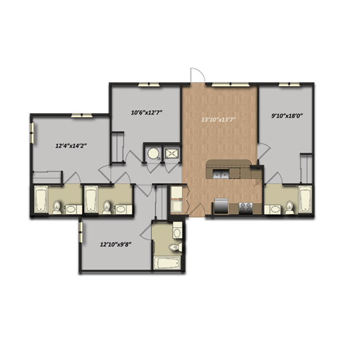 4 Bedrooms 3 Bathrooms Apartment for rent at Campus Village At College Station in College Station, TX
