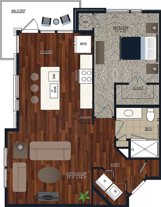 1 Bedroom 1 Bathroom Apartment for rent at Centric Lohi in Denver, CO