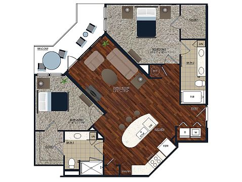 2 Bedrooms 2 Bathrooms Apartment for rent at Centric Lohi in Denver, CO