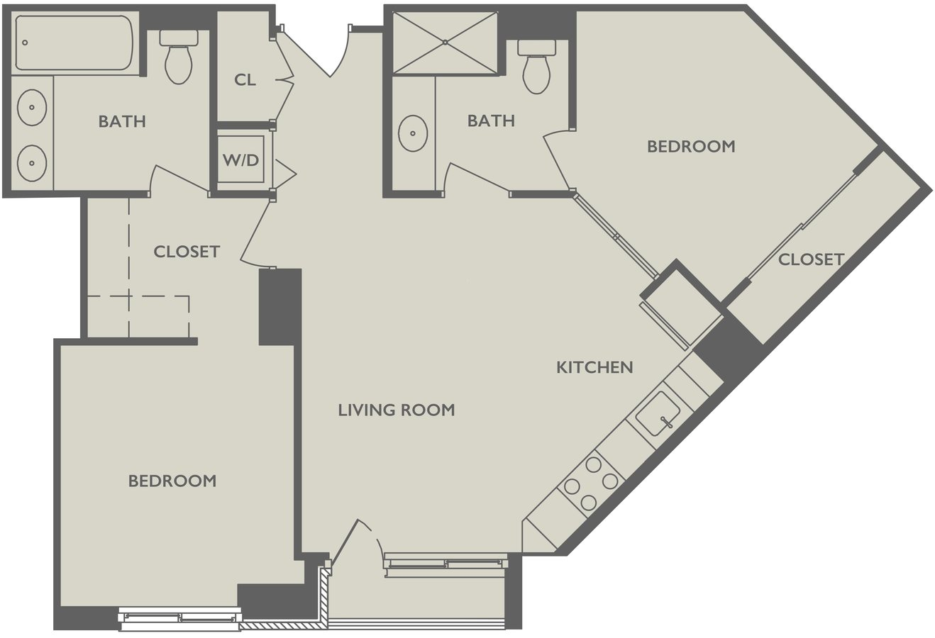 2 Bedrooms 2 Bathrooms Apartment for rent at The Duchess in North Bergen, NJ