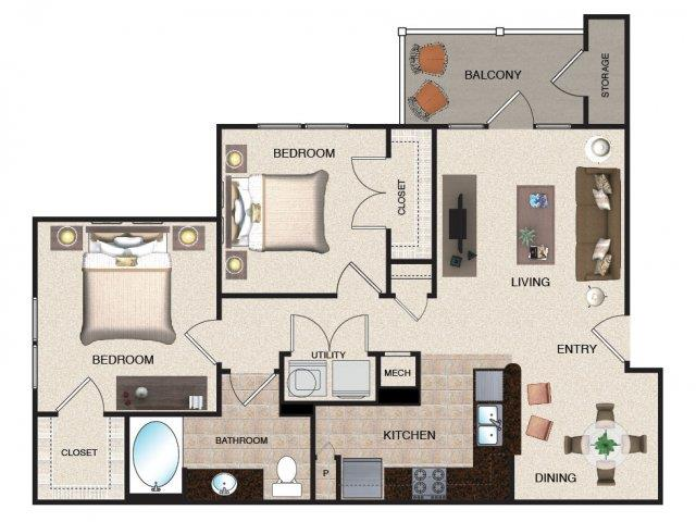 2 Bedrooms 1 Bathroom Apartment for rent at Grove At Waterford Crossing in Hendersonvlle, TN