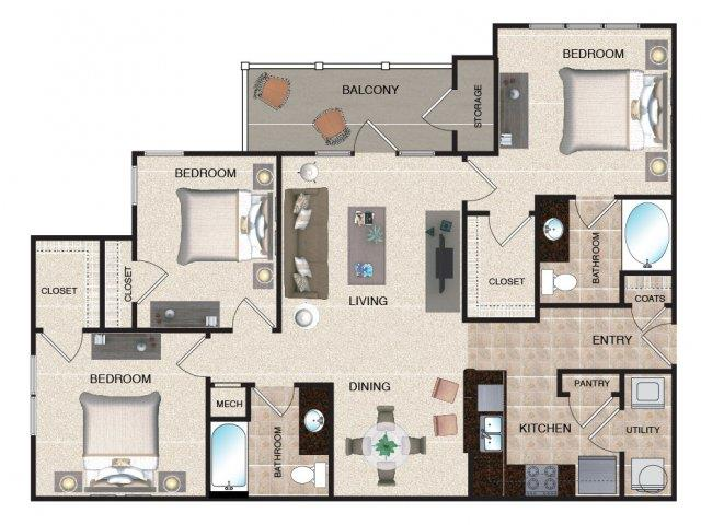 3 Bedrooms 2 Bathrooms Apartment for rent at Grove At Waterford Crossing in Hendersonvlle, TN