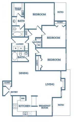 3 Bedrooms 2 Bathrooms Apartment for rent at Dunwoody Village Apartment Homes in Atlanta, GA