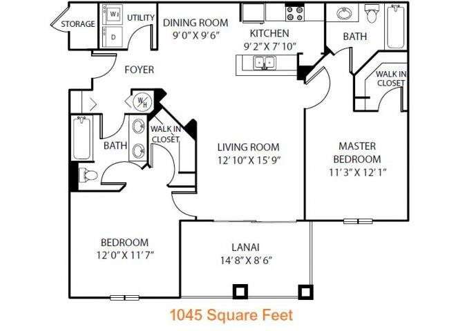 2 Bedrooms 2 Bathrooms Apartment for rent at Heritage On Millenia Apartments in Orlando, FL
