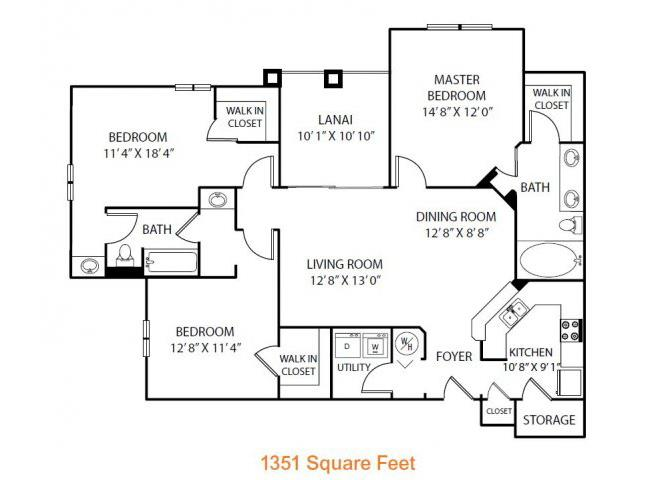 3 Bedrooms 2 Bathrooms Apartment for rent at Heritage On Millenia Apartments in Orlando, FL