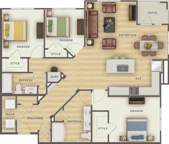 3 Bedrooms 2 Bathrooms Apartment for rent at Park 9 Apartments in Woodstock, GA