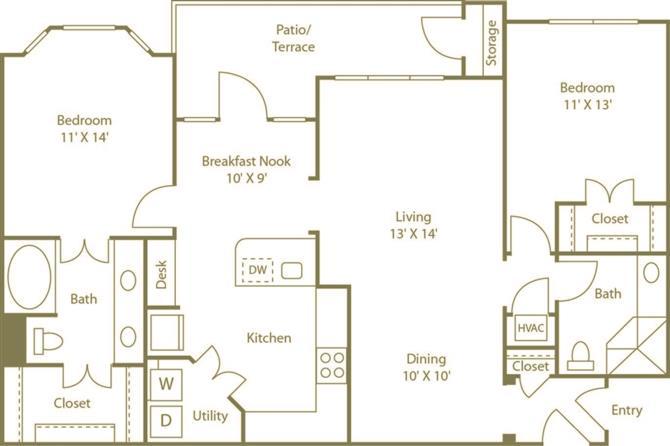 2 Bedrooms 2 Bathrooms Apartment for rent at Costa Bella Apartment Homes in San Antonio, TX