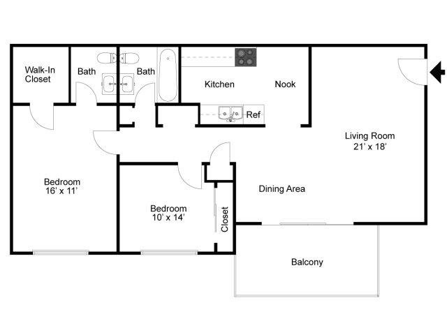 2 Bedrooms 1 Bathroom Apartment for rent at Grand Arbor Reserve Apartment Homes in Raleigh, NC
