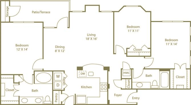 3 Bedrooms 2 Bathrooms Apartment for rent at Costa Bella Apartment Homes in San Antonio, TX