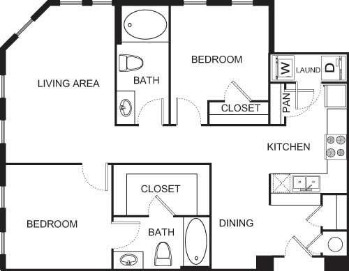 2 Bedrooms 2 Bathrooms Apartment for rent at Uptown Square Apartment Homes in Denver, CO