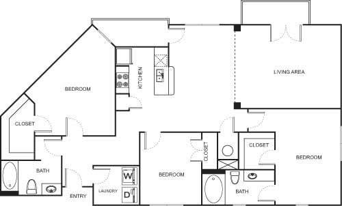 3 Bedrooms 2 Bathrooms Apartment for rent at Uptown Square Apartment Homes in Denver, CO