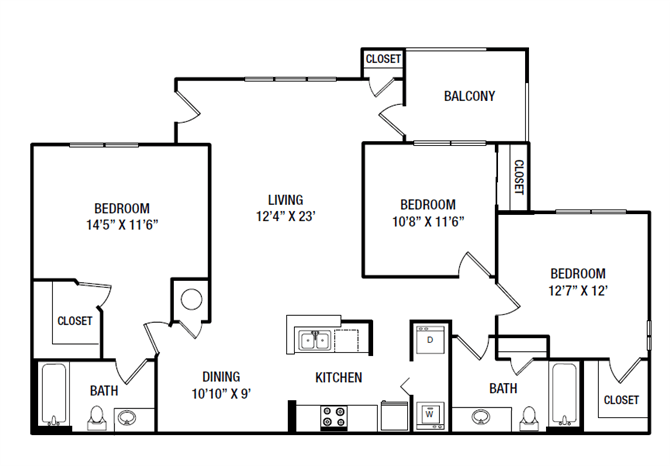 3 Bedrooms 2 Bathrooms Apartment for rent at Village At Almand Creek Apartments in Conyers, GA