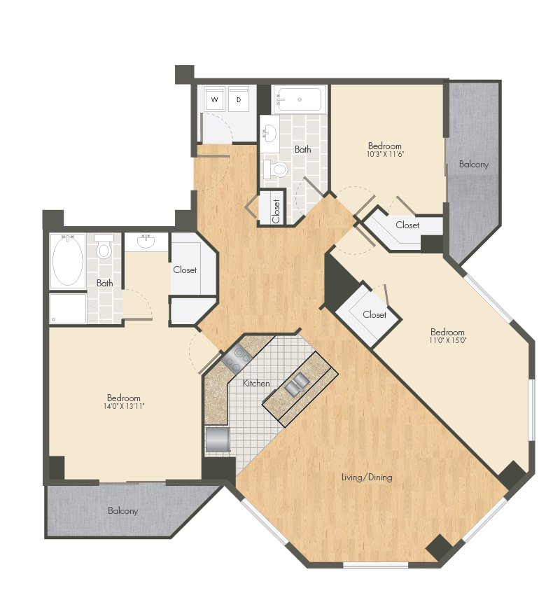 3 Bedrooms 2 Bathrooms Apartment for rent at Ballpark Lofts Apartments in Denver, CO