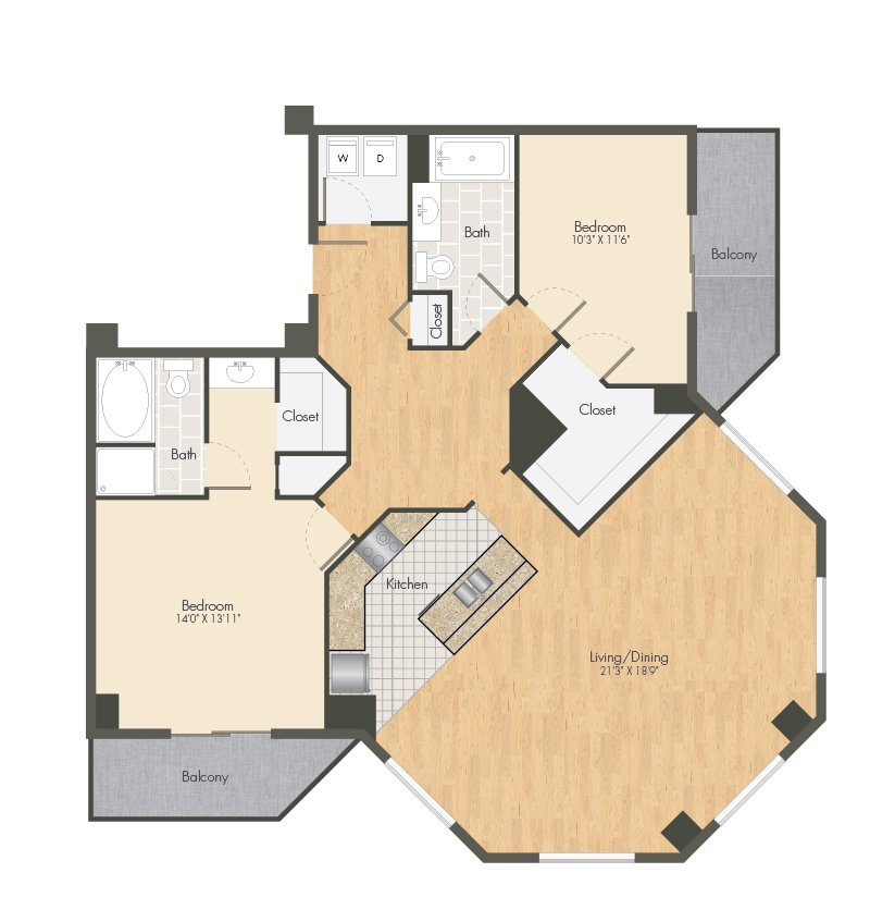 2 Bedrooms 2 Bathrooms Apartment for rent at Ballpark Lofts Apartments in Denver, CO