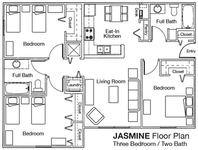 3 Bedrooms 2 Bathrooms Apartment for rent at Whispering Woods Apartments in St Augustine, FL