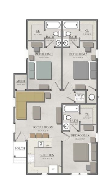 3 Bedrooms 3 Bathrooms Apartment for rent at The Cottages Of College Station in College Station, TX