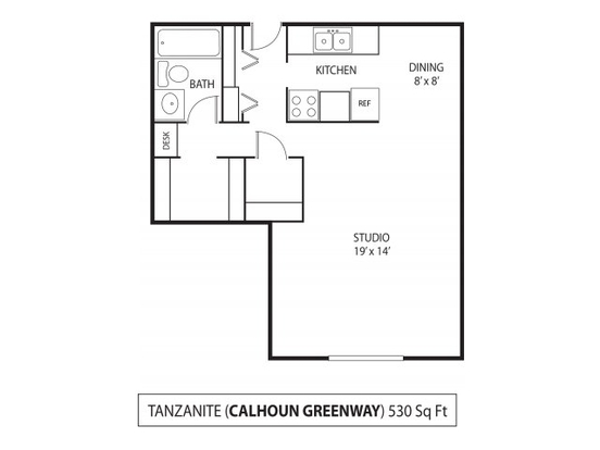 Studio 1 Bathroom Apartment for rent at The Calhoun Greenway in Minneapolis, MN