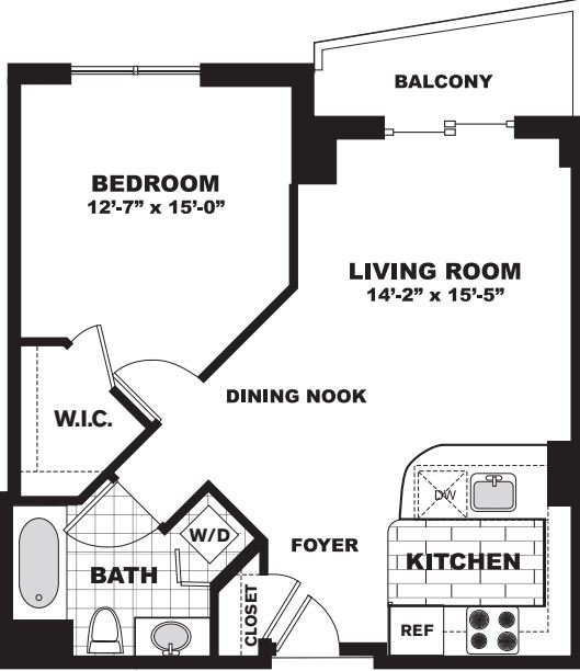 1 Bedroom 1 Bathroom Apartment for rent at Longview Place in Waltham, MA