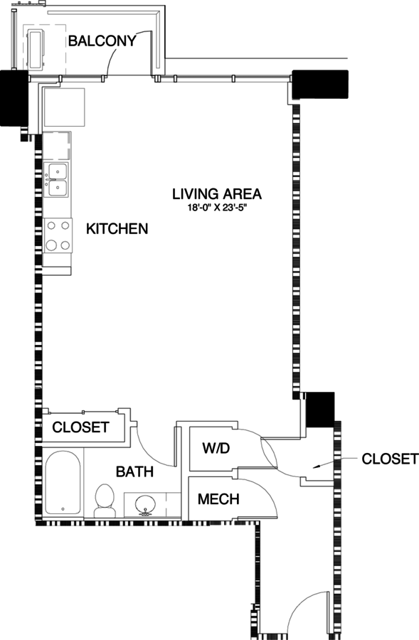 Studio 1 Bathroom Apartment for rent at Skyhouse Denver in Denver, CO