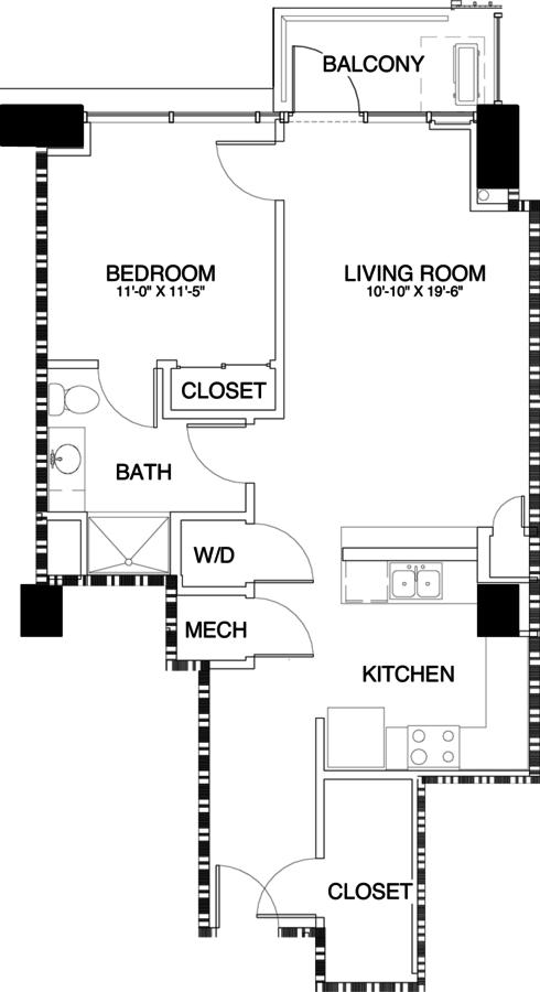 1 Bedroom 1 Bathroom Apartment for rent at Skyhouse Denver in Denver, CO