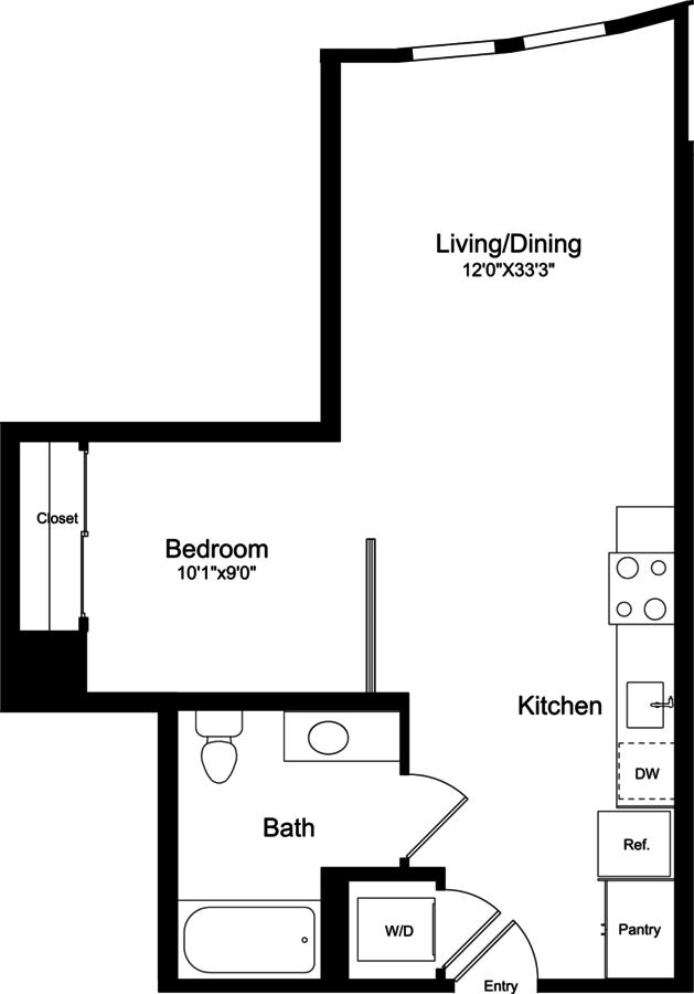 Studio 1 Bathroom Apartment for rent at 855 Brannan in San Francisco, CA
