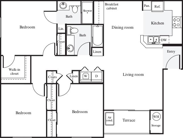 3 Bedrooms 2 Bathrooms Apartment for rent at Estancia At Santa Clara in Santa Clara, CA