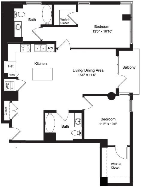 2 Bedrooms 2 Bathrooms Apartment for rent at Azure in San Francisco, CA