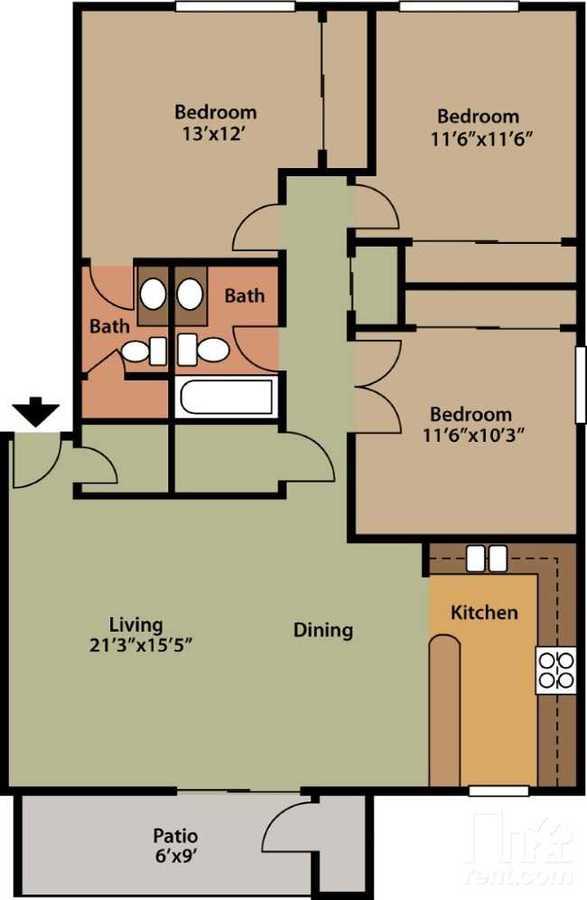 3 Bedrooms 2 Bathrooms Apartment for rent at Villagio Luxury Apartments in Tempe, AZ