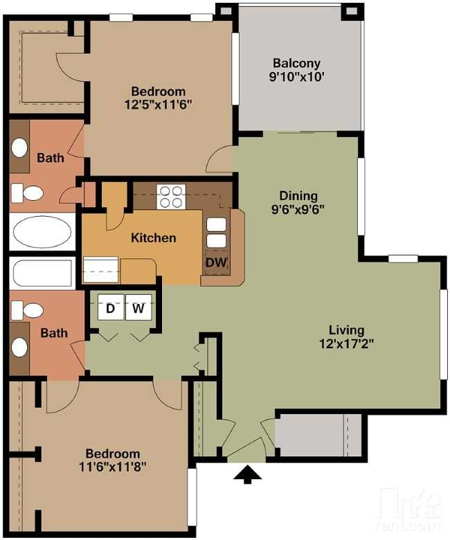 2 Bedrooms 2 Bathrooms Apartment for rent at Green Leaf Tempe Station in Tempe, AZ