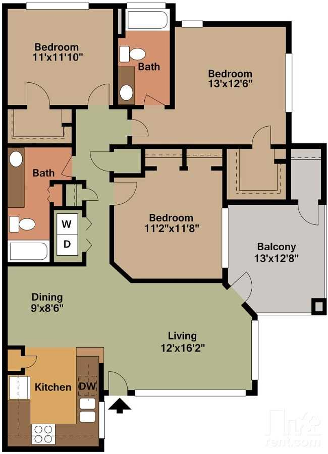 3 Bedrooms 2 Bathrooms Apartment for rent at Green Leaf Tempe Station in Tempe, AZ