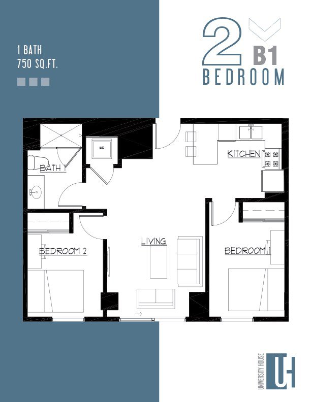 2 Bedrooms 1 Bathroom Apartment for rent at University House Tempe in Tempe, AZ