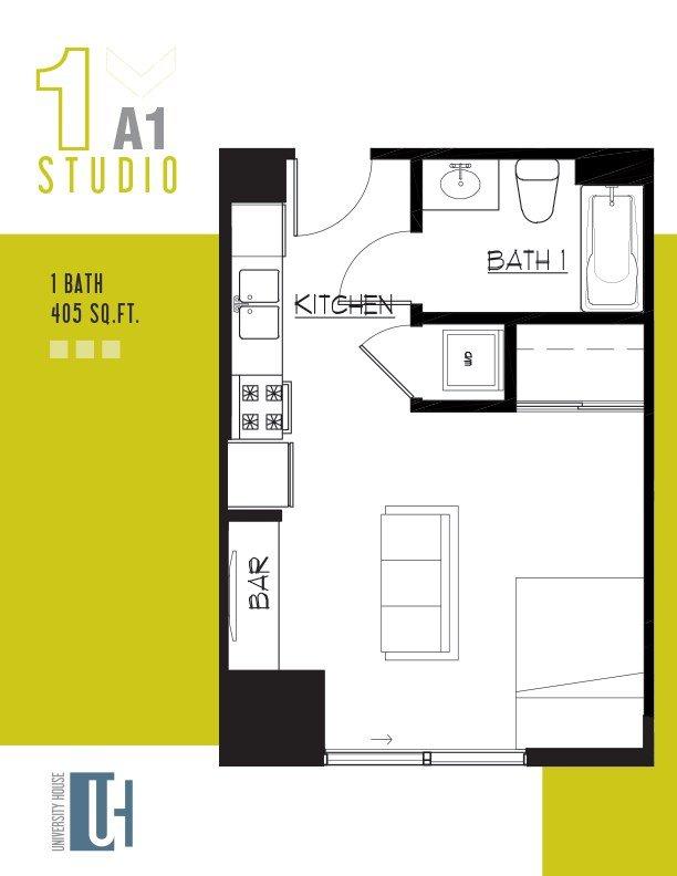 Studio 1 Bathroom Apartment for rent at University House Tempe in Tempe, AZ