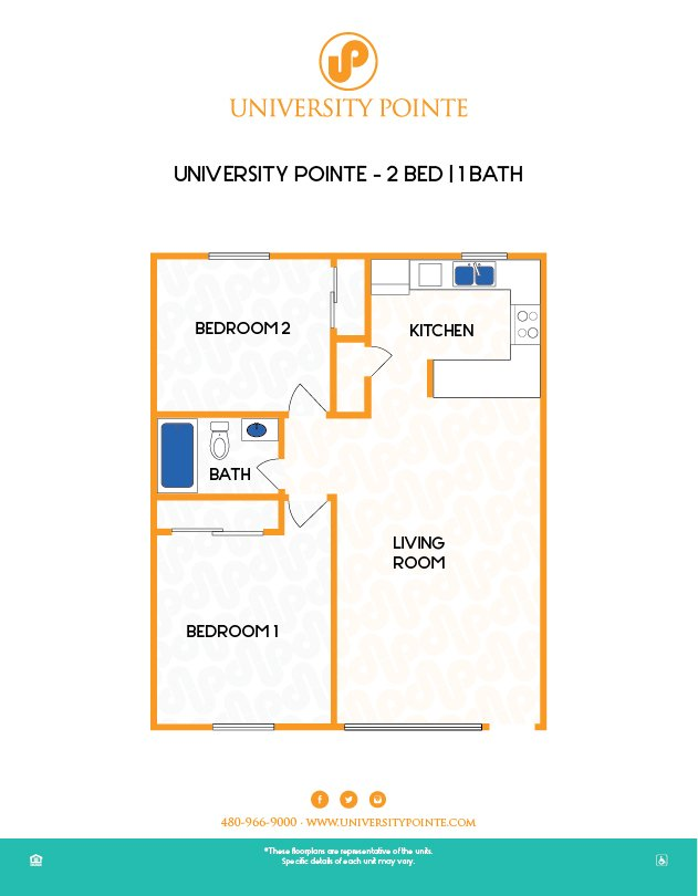 2 Bedrooms 1 Bathroom Apartment for rent at University Pointe in Tempe, AZ