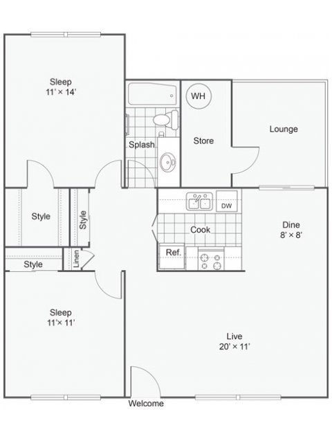 2 Bedrooms 1 Bathroom Apartment for rent at The Nines Apartment Homes in Tempe, AZ