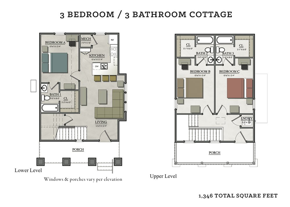 3 Bedrooms 3 Bathrooms Apartment for rent at The Cottages Of Tempe in Tempe, AZ