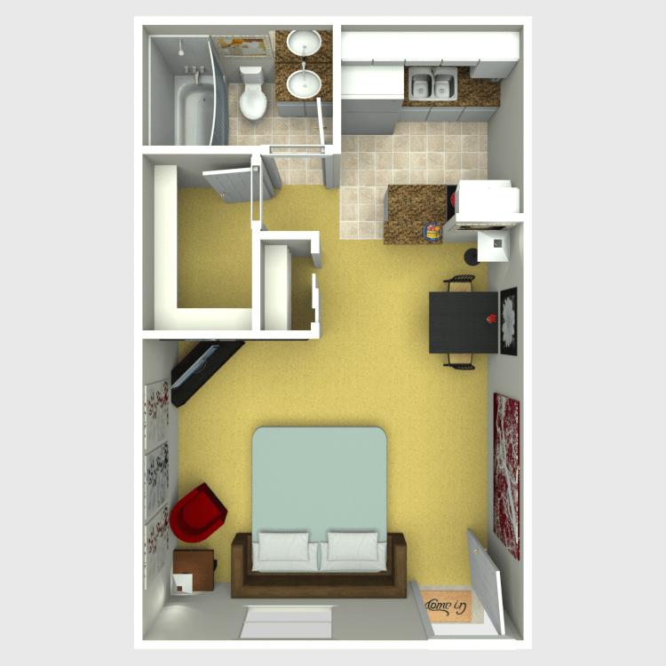 Studio 1 Bathroom Apartment for rent at Eastridge Apartments in Tempe, AZ